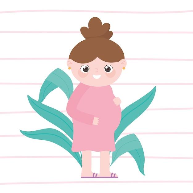 Embarazo y maternidad, linda mujer embarazada en vestido rosa de dibujos animados