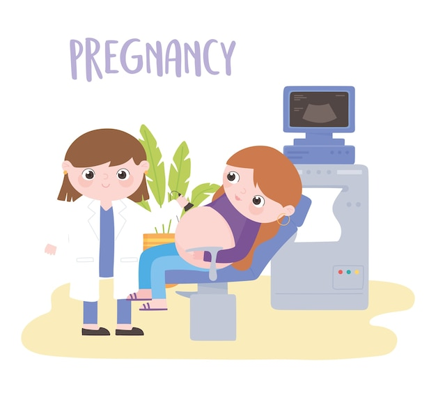 Embarazo y maternidad, mujer embarazada bajo control médico con doctora