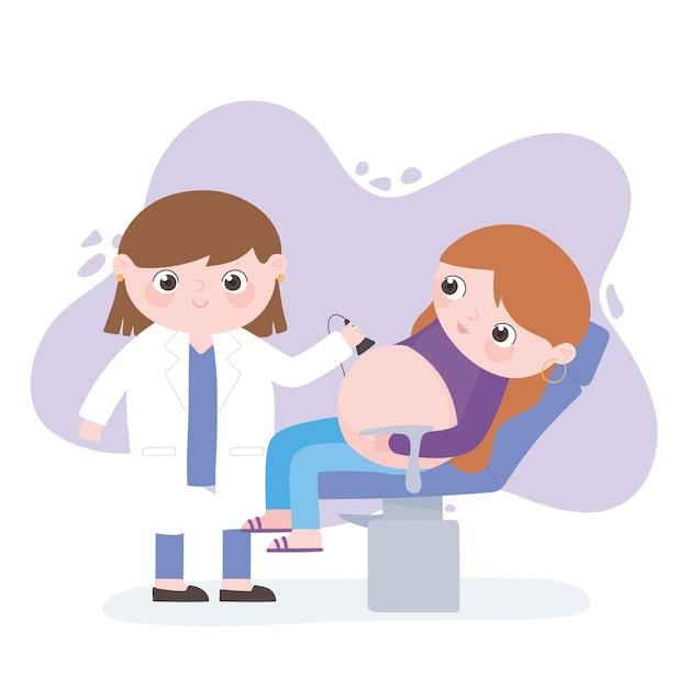 Embarazo y maternidad, mujer embarazada y médico haciendo ultrasonido.
