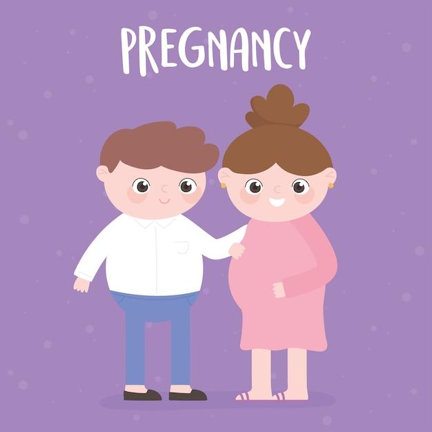 Embarazo y maternidad, mujer embarazada y padre juntos dibujos animados