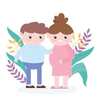 Embarazo y maternidad, padre y mujer embarazada, deja la decoración de la naturaleza.