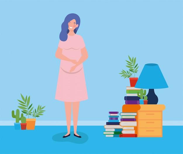 Embarazo mujer en casa lugar escena
