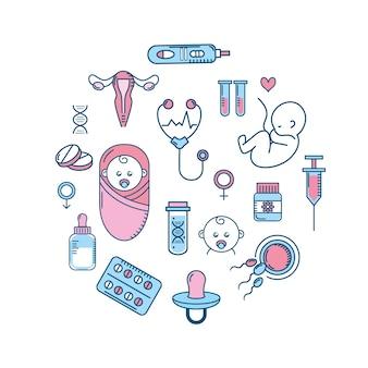 Embarazo de la mujer a proceso de reproducción y fertilización
