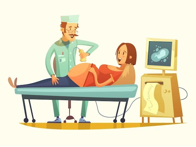 Embarazo ultrasonido cribando dibujos animados retro ilustración