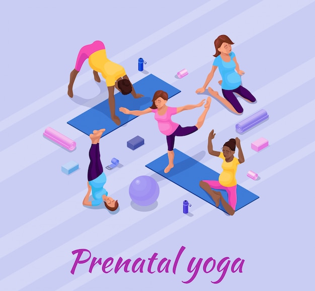 Embarazo yoga banner con mujer embarazada