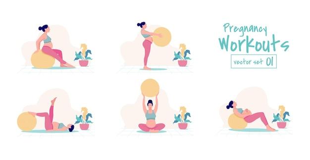 Embarazo yoga set mujer embarazada practicando posturas de yoga