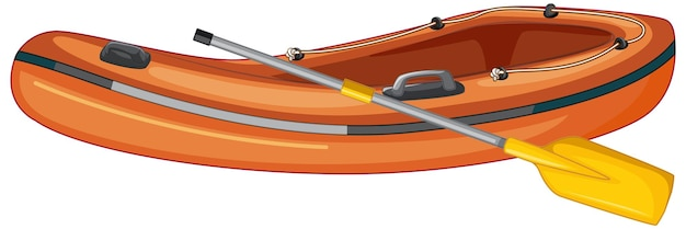 Embarcación neumática con remos sobre fondo blanco.