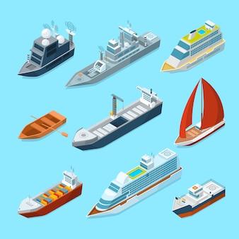 Embarcaciones isométricas de pasajeros de mar y diferentes embarcaciones en puerto. ilustraciones marinas