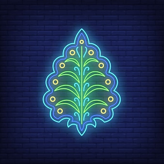 Emblema abstracto con letrero de neón de hojas. decoración, logotipo.