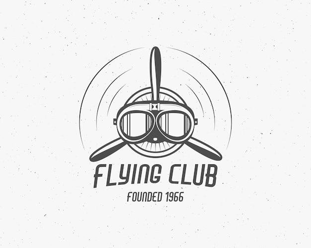 Emblema de avión vintage. etiqueta biplano. insignia de avión retro, elementos de diseño. sello de aviación. logotipo y logotipo de airshow. hélice de mosca, gafas, icono antiguo, parche aislado. .