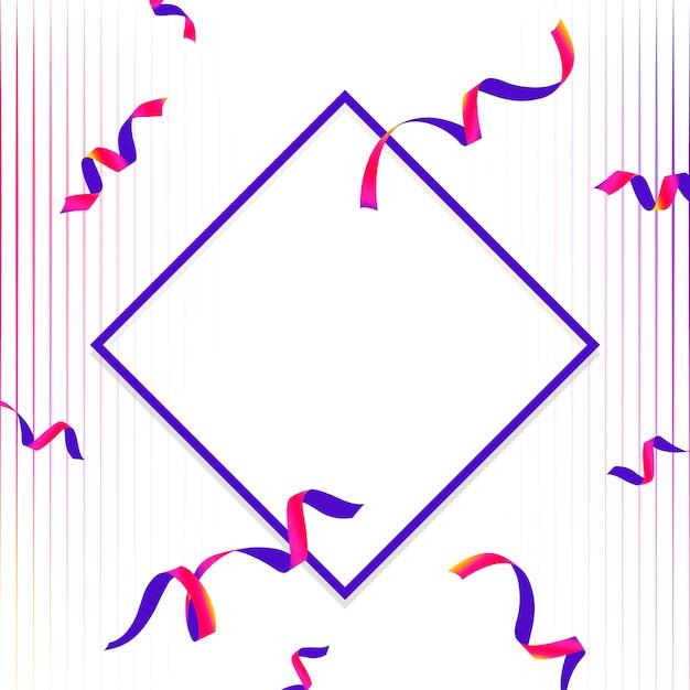 Emblema azul y rosa en blanco con vector de confeti