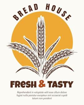 Emblema de boceto de logo de panadería