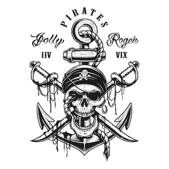 Emblema de calavera pirata con espadas, ancla