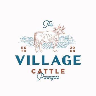 El emblema caligráfico del logotipo de village cattle
