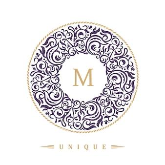 Emblema caligráfico redondo para café