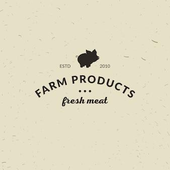 Emblema de carnicería de carne con silueta de cerdo, texto the butchery, carne fresca, productos agrícolas. plantilla de logotipo para el negocio de la carne - tienda de agricultor, mercado, restaurante o diseño - banner, etiqueta.