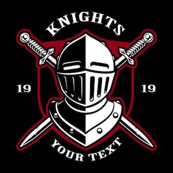 Emblema del casco de caballero con espadas sobre fondo oscuro. logotipo. el texto está en la capa separada.