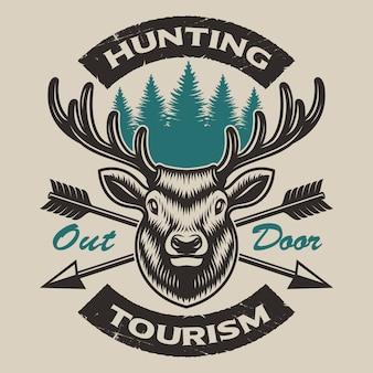 Emblema de caza vintage con un ciervo y flechas cruzadas, también perfecto para el diseño de camisetas y logotipos