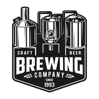 Emblema de cervecería artesanal monocromo vintage