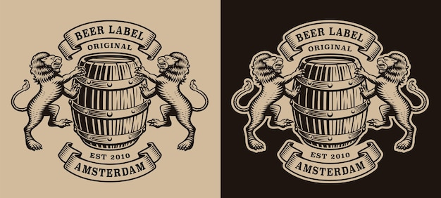 Emblema de cervecería en blanco y negro con un barril y leones