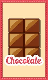 Emblema de chocolate con icono de la barra de chocolate sobre fondo marrón