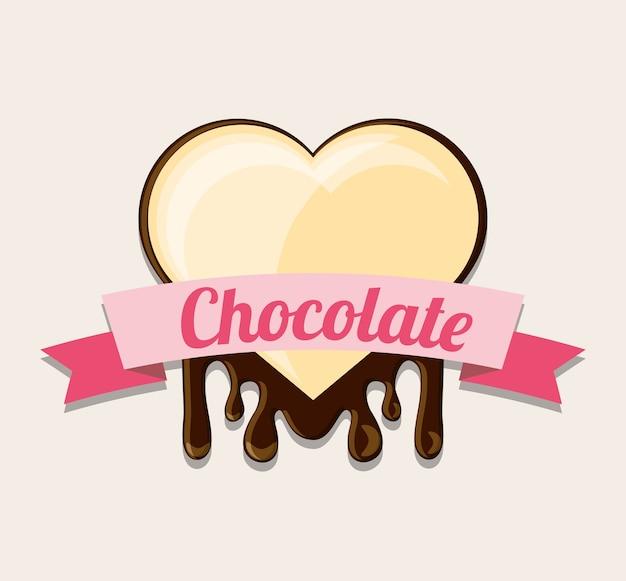Emblema con cinta decorativa y corazón de chocolate blanco sobre fondo blanco