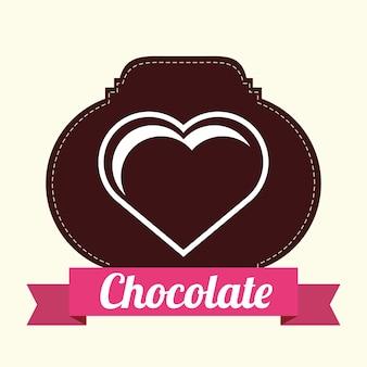 Emblema con cinta decorativa y corazón del icono de chocolate sobre fondo blanco