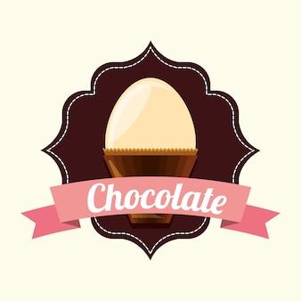 Emblema con cinta decorativa y huevo de chocolate blanco sobre fondo blanco