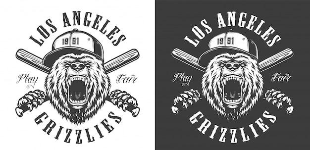 Emblema de club de béisbol monocromo vintage