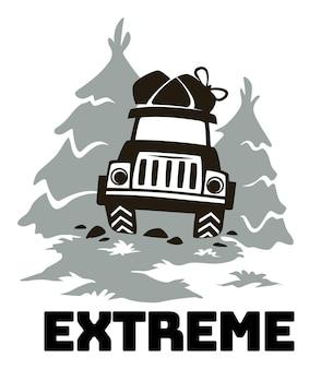 Emblema del club de viajes de aventura extrema fuera de la carretera
