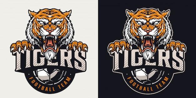 Emblema colorido del club de fútbol vintage
