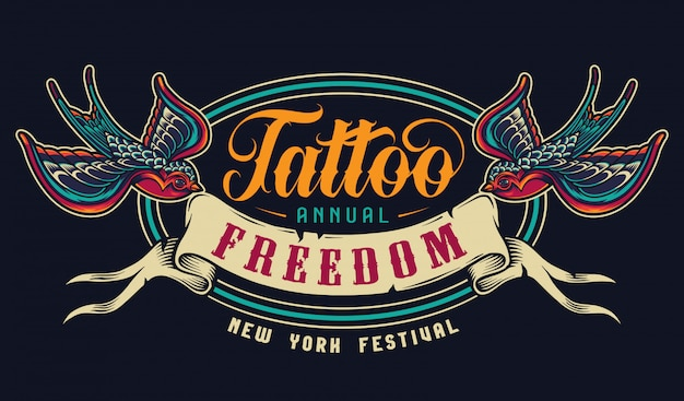 Emblema colorido del salón de tatuajes vintage