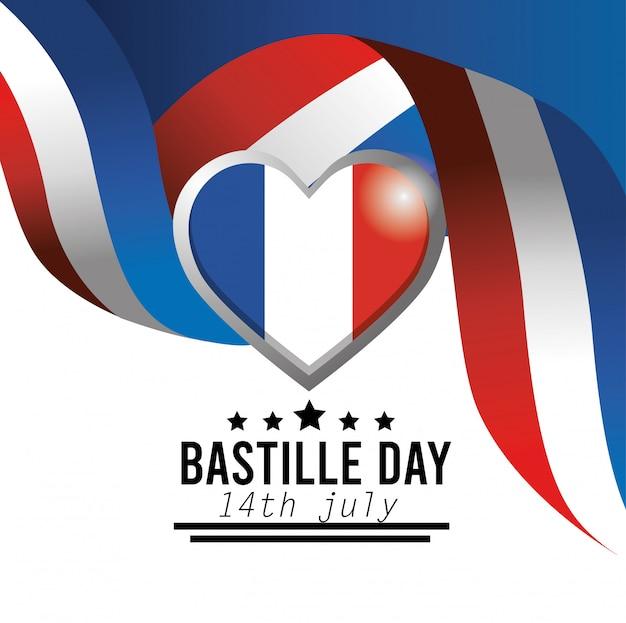 Emblema del corazón y cinta de la bandera de francia