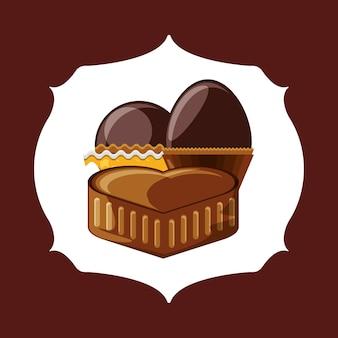 Emblema con el corazón del icono de chocolate y trufas sobre fondo marrón