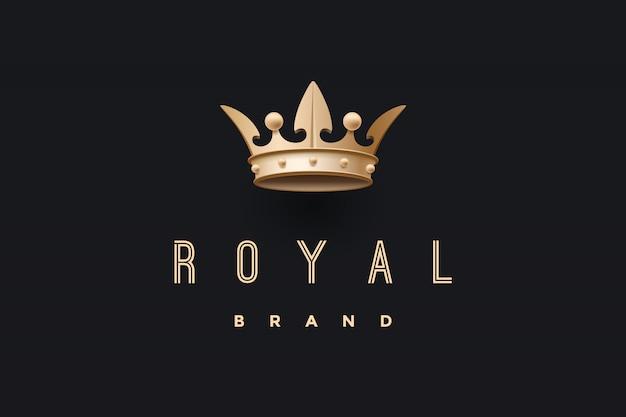 Emblema con corona de oro rey e inscripción marca royal