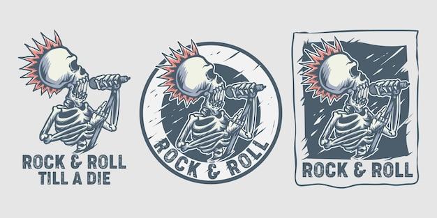 Emblema del cráneo del rock and roll