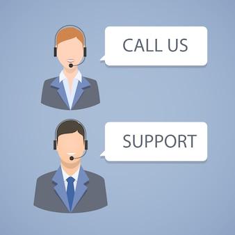 Emblema de soporte de centro de llamadas