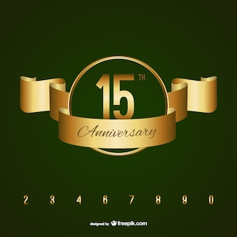 Emblema dorado de aniversario