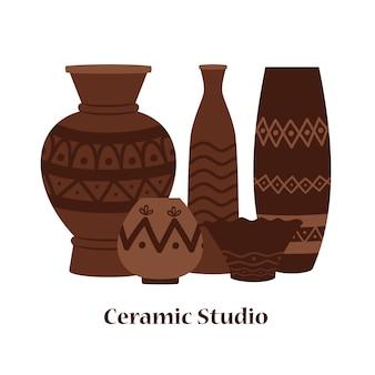 Emblema de estudio de cerámica con jarrones y vasijas de arcilla.
