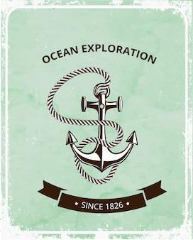 Emblema de exploración del océano con ancla y cuerda.