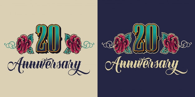Emblema festivo vintage del vigésimo aniversario