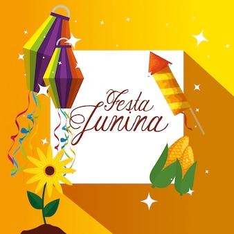 Emblema con fuegos artificiales y plantas de girasoles con linternas