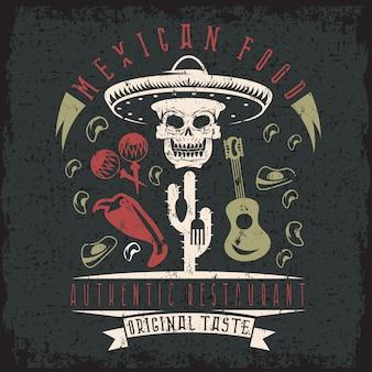 Emblema de grunge de restaurante con calavera en sombrero mexicano