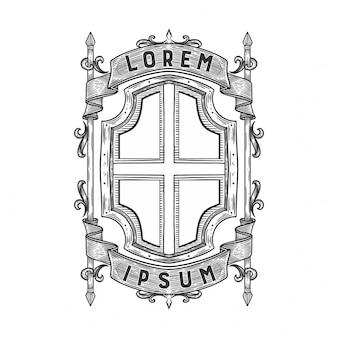 Emblema heráldico en blanco
