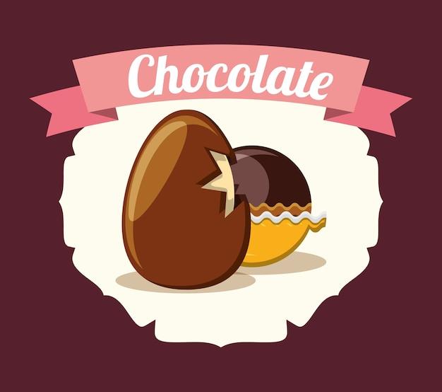 Emblema con icono de huevo y trufa de chocolate sobre fondo marrón