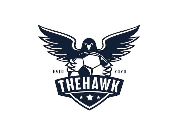 Emblema insignia sello águila halcón fútbol fútbol plantilla de logotipo