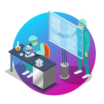 Emblema isométrico de microbiología con dos personas científicas que trabajan en la ilustración del laboratorio.