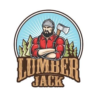 Del emblema de leñador, etiqueta, insignia, logo con texto. aislado sobre fondo blanco.