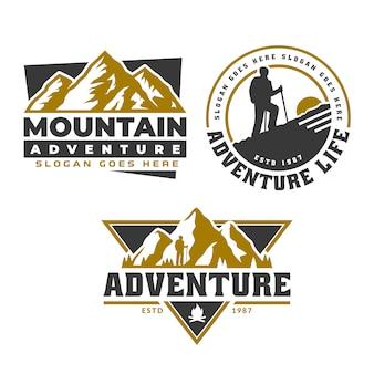 Emblema del logotipo de la aventura, plantilla del emblema del logotipo de la montaña, acampada senderismo