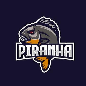 Emblema del logotipo del equipo piraña esport